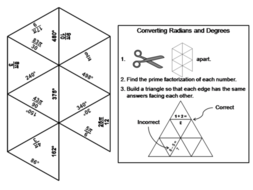 Converting Radians and Degrees Game: Math Tarsia Puzzle