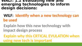 Edexcel Design and Technology AC1.2 Evaluating technologies