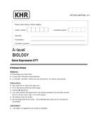 AQA A LEVEL BIOLOGY - GENE EXPRESSION APPLICATION PAPER