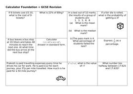 GCSE Calculator Revision Mats Set 2: Higher and Foundation