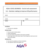 AQA A Level Business 3.6 Decision making to improve HR performance - assessment