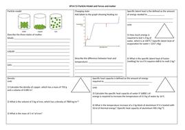 SP14 & SP15 Particles & Forces and matter revision mat