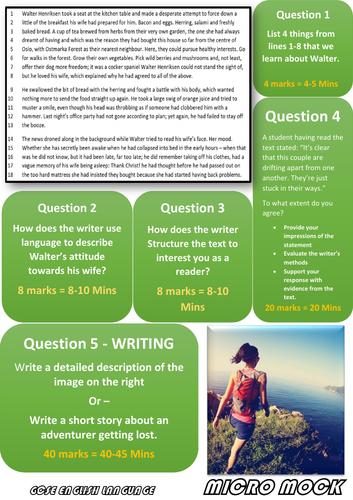 AQA 8700 GCSE English Language - 6 Colourful Micro Mocks - Papers 1 & 2