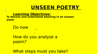 Unseen Poetry resources