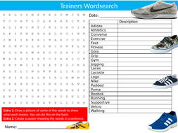 Shoes Trainers Wordsearch Sheet Starter Activity Keywords Cover Homework Fashion Textiles Clothing