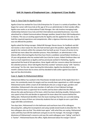 BTEC Level 3 Business Unit 14: Aspects of Employment Law - Assignment Brief Pack
