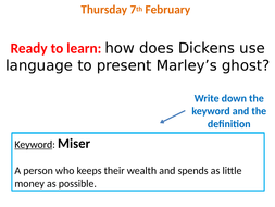 Marley's ghost A Christmas Carol with annotated quotes and worksheet | Teaching Resources