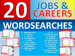 20 x Careers Wordsearch Sheet Starter Activity Keywords Cover Homework Jobs Advice PSHE