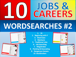 10 x Careers Wordsearch #2 Sheet Starter Activity Keywords Cover Homework Jobs Advice