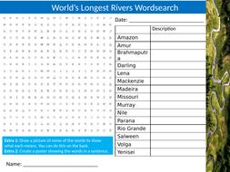 World's Longest Rivers Wordsearch Sheet Starter Activity Keywords Cover Homework Geography