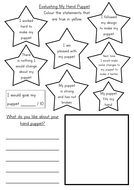 KS1 Hand Puppet Evaluation Sheet Differentiated by