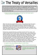 Work sheet on Treaty of Versailles