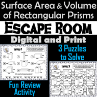Surface Area and Volume of Rectangular Prisms Activity: Escape Room Geometry