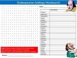 Shakespeare Settings Wordsearch Sheet Starter Activity Keywords Cover Homework English