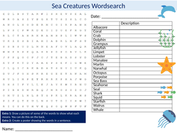 Sea Creatures Wordsearch Sheet Starter Activity Keywords Cover Homework Animals The Ocean