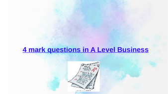 A Level Business  Questions+Sample Answers