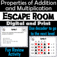 Properties of Addition and Multiplication Activity: Escape Room Math