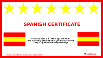 Spanish Club Certificates