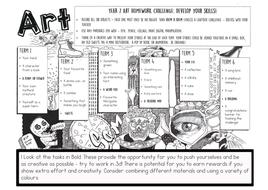 KS3 Art Homework for the year