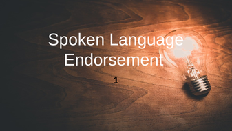 Spoken Language Endorsement GCSE S&L SOL