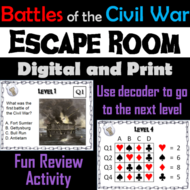 Battles of the Civil War Escape Room Social Studies