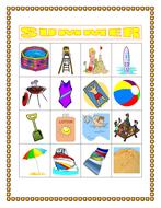 Summer in English Bingo