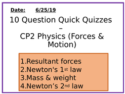 Physics 10 Question Quizzes - Forces and Motion
