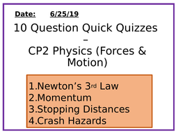 Physics 10 Question Quizzes - Forces and motion 2