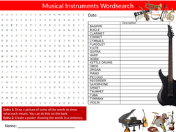 Musical Instruments Wordsearch Sheet Starter Activity Keywords Cover Homework Music
