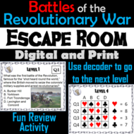 Major Battles of the Revolutionary War Escape Room Social Studies