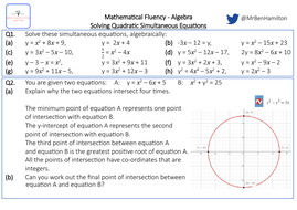 Solving Quadratic Simultaneous Equations - Fluency: Substitution