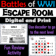 Major Battles of World War 1 Escape Room Social Studies