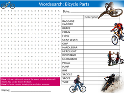 4 x Cycling Parts Wordsearch Sheet Starter Activity Keywords Cover Homework Bike Bicycle Sports