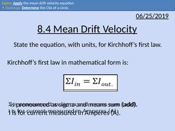 OCR AS level Physics: Mean Drift Velocity