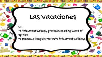Las Vacaciones - Present Tense - Verb Gustar Spanish Holidays Key Stage 3