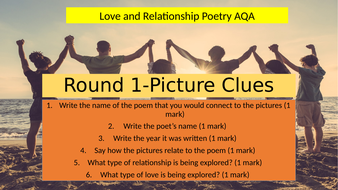 An extensive class quiz, to revise all the poems in AQA Love