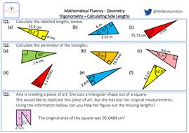 Trigonometry (Calculating Lengths) - Reasoning: Pythagoras' Theorem, Perimeter, Area