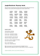 Rhyming Animal Actions for  Rainforest Verses