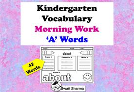 Kindergarten Vocabulary, Sight Words, Morning Work, 'A' Words