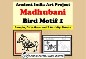 Ancient India Art Project, Madhubani Wall/Folk Art, Bird Motif 1