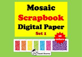 Mosaic Scrapbook Digital Paper, Set 1