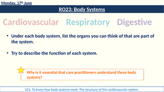 RO23 Body Systems Cardiovascular lessons
