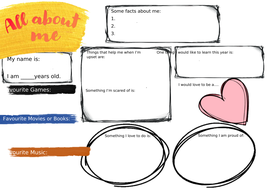 'About me' Worksheet