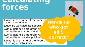 KS3 Forces calculations lesson 6