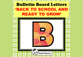 Bulletin Board letters, Back To School And Ready To Grow
