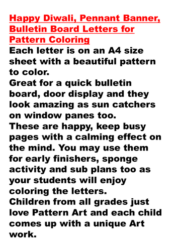 Happy Diwali, Pennant Banner, Bulletin Board Letters for Pattern Coloring