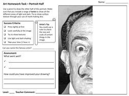 Art Homework Worksheet - KS3/KS4 - Portrait half