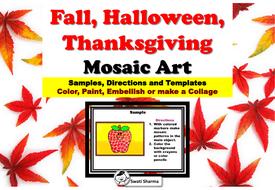 Fall, Halloween, Thanksgiving, Silhouette, Mosaic Art Project