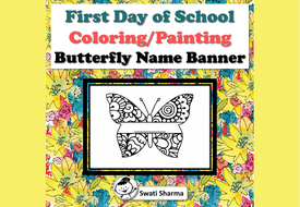 First Day of School Activity, Butterfly Name Banner, Pattern Coloring