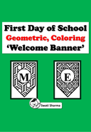 Welcome, Pennant Banner, Bulletin Board Letters for Geometric Pattern Coloring